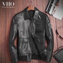 VHO motorrad lederjacke für männer pilot echte lederjacke kurze fashion  biker-lederjacke echtem schaffell mäntel 01151f6882