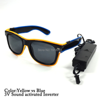 With Voice Controller Double Colors Dark Lens EL Wire Glowing Glasses LED Light up Glasses Holiday Lighting Decoration