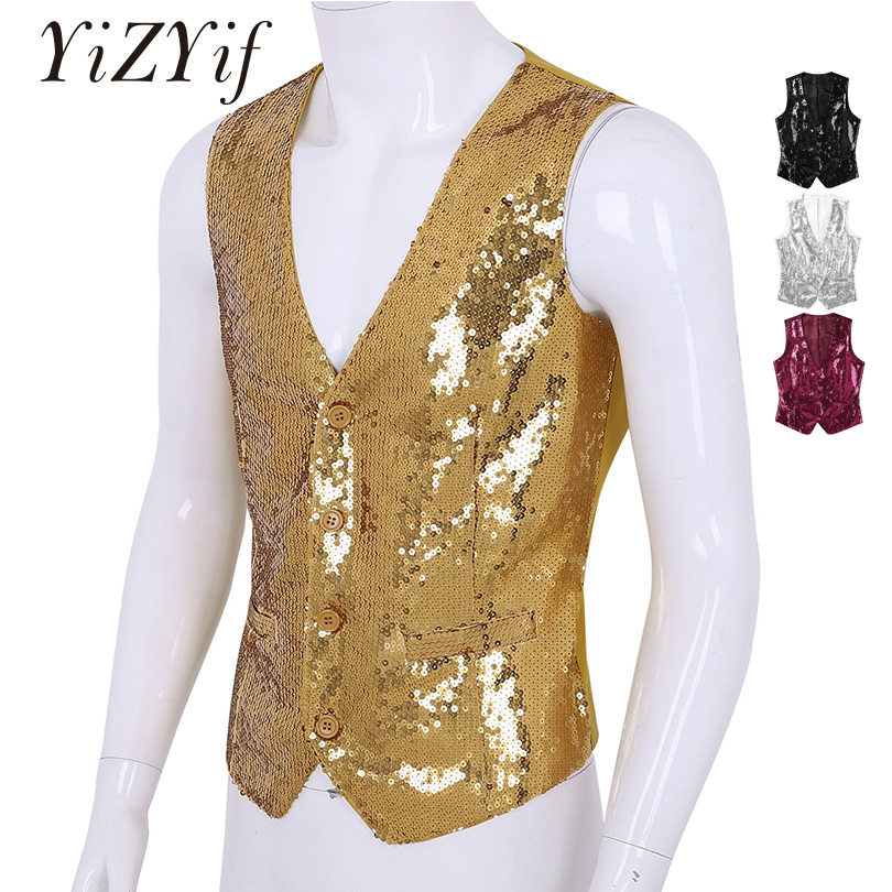 YiZYiF Vest Mens Slim Fit Shiny Sequins   tank     top   Dance Suit V-Neck Sleeveless Button Down Business Dress Suit Separate Waistcoat