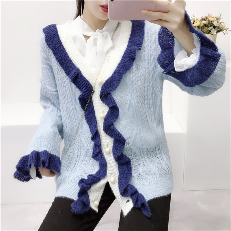 Women Cardigans 2018 Autumn Contrast Ruffled Sweaters Long Sleeves Loose Casual Jumpers Single Breasted Sweet Knitted Cardigans