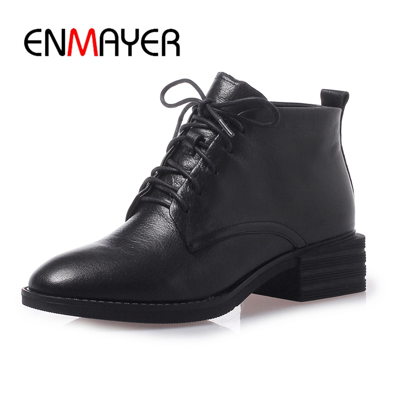 ENMAYER Round Toe Lace Up Genuine Leather Square Heel Snow Boots Ankle Boots for Women Size 34 40 ZYL1676 in Ankle Boots from Shoes
