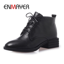 ENMAYER  Round Toe Lace-Up Genuine Leather Square Heel Snow Boots Ankle for Women Size 34-40 ZYL1676