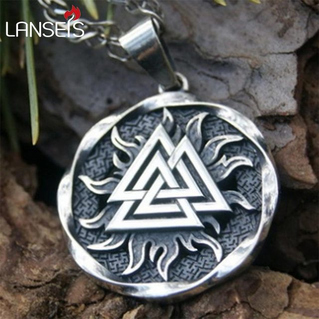 Lanseis10pcs the valknut viking pendant viking necklace scandinavian lanseis10pcs the valknut viking pendant viking necklace scandinavian norse viking jewelry norway men necklace aloadofball Image collections