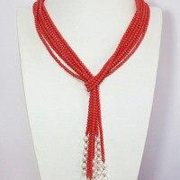 Mới hồng orange nhân tạo coral 5 mét vòng hạt tự nhiên white pearl 3 strands bán hot scarf vòng cổ 50 inch B1447