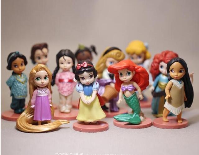 11Pcs Tiana Merida Jasmine Princess Action Figures Snow Whiteเจ้าหญิงเงือกอะนิเมะตัวเลขเด็กของเล่นสำหรับเด็กผู้หญิงเด็ก