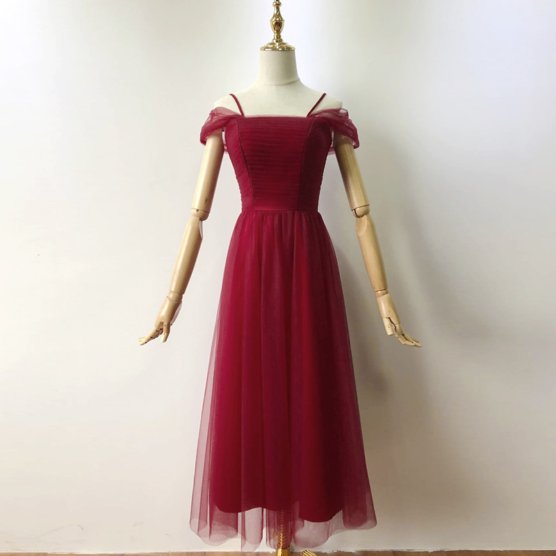Wine Red Midi Dress Sexy Dress  Bridesmaids Dresses For Women  Wedding Party