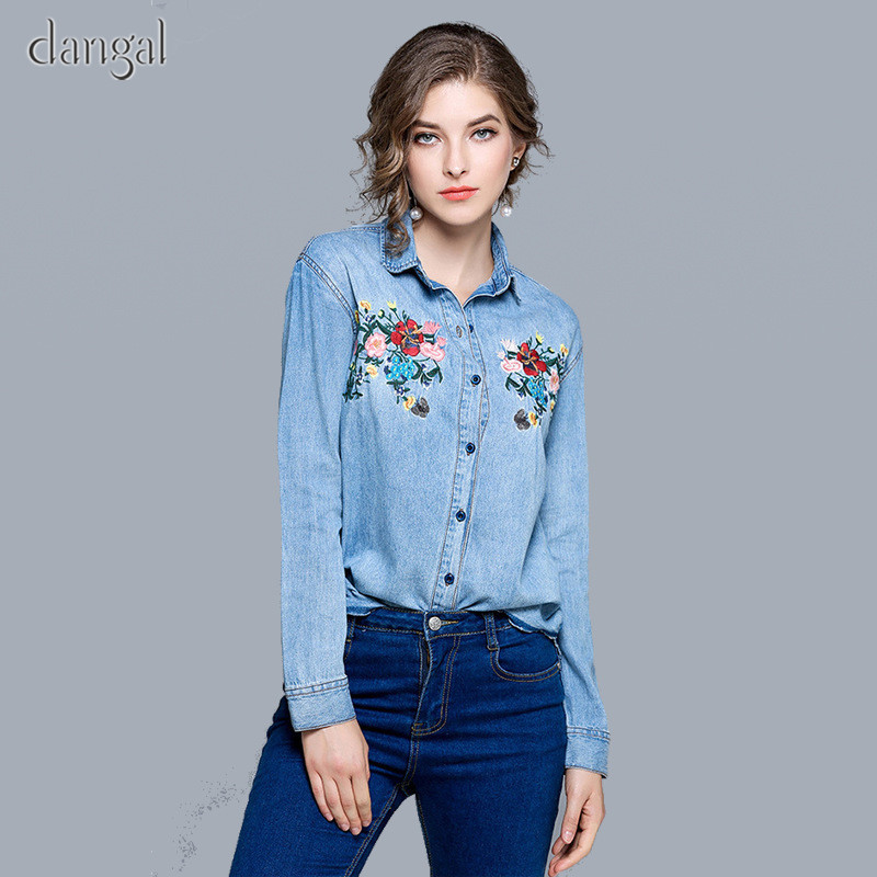 cdc21fe4d17 Denim Shirt With Embroidery Shirt Women Jeans Embroidered Womens Shirts  Female Turn Down Long Sleeve Rounded Hem Wholesale-in Blouses   Shirts from  Women s ...