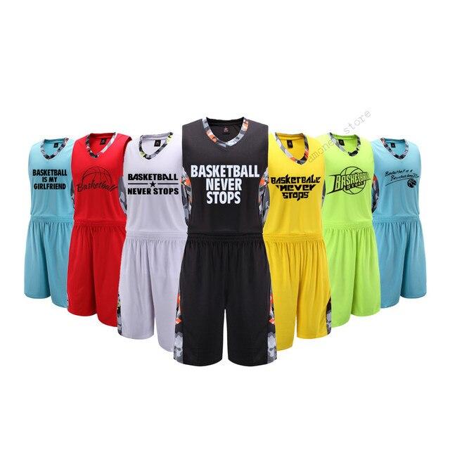 9d26277f83 Adsmoney Homens Sets Jérsei de Basquete camisas Uniformes kits Esportivos  Para Adultos roupas Patchwork calções de