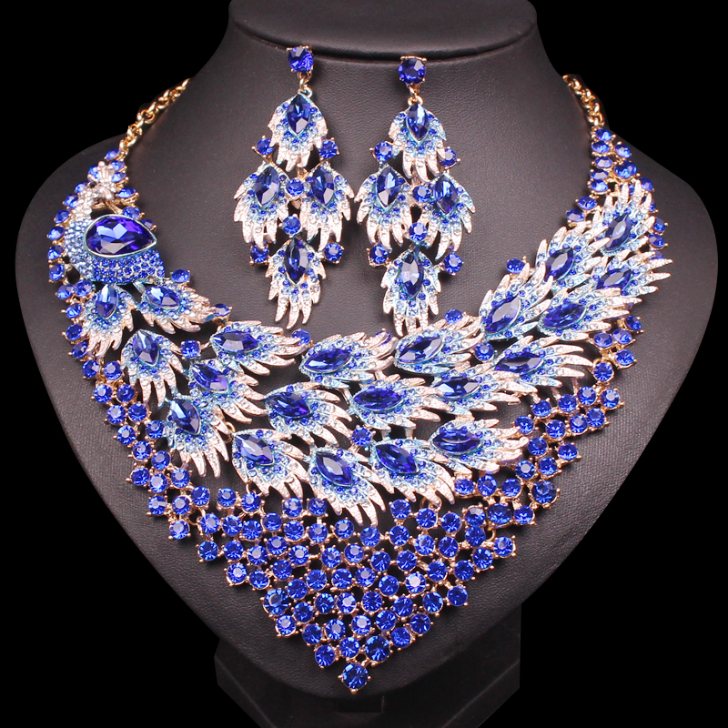 Luxury Big Blue Necklace Earring Sets Peacock tail Jewelry Sets for Brides Gift for Women Wedding Party Indian Costume JewelleryLuxury Big Blue Necklace Earring Sets Peacock tail Jewelry Sets for Brides Gift for Women Wedding Party Indian Costume Jewellery