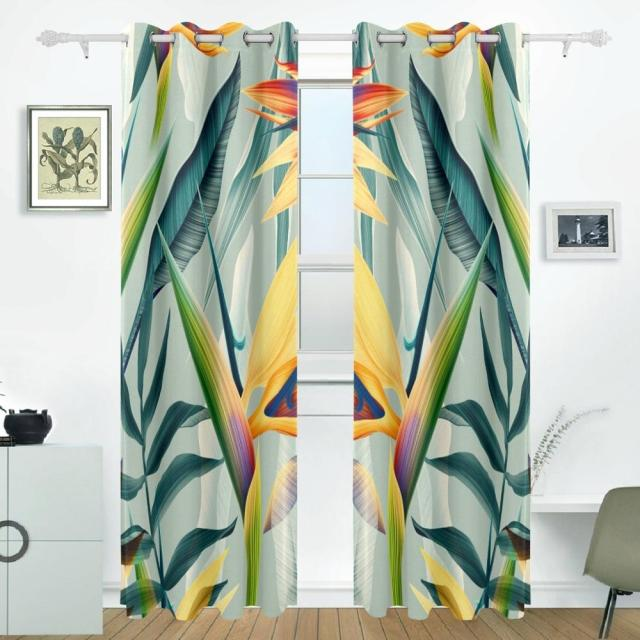 Tropical Flower Plant And Leaf Curtains Drapes Panels Darkening