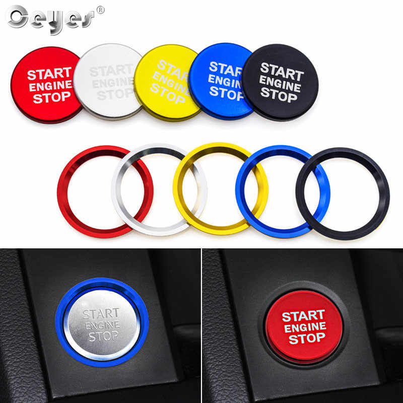 Ceyes Auto Motor Start Button Switch Key Ring Auto Styling Case Voor Audi A4 A5 A7 Q3 Q5 Q7 Decoratie cover Interieur Accessoires