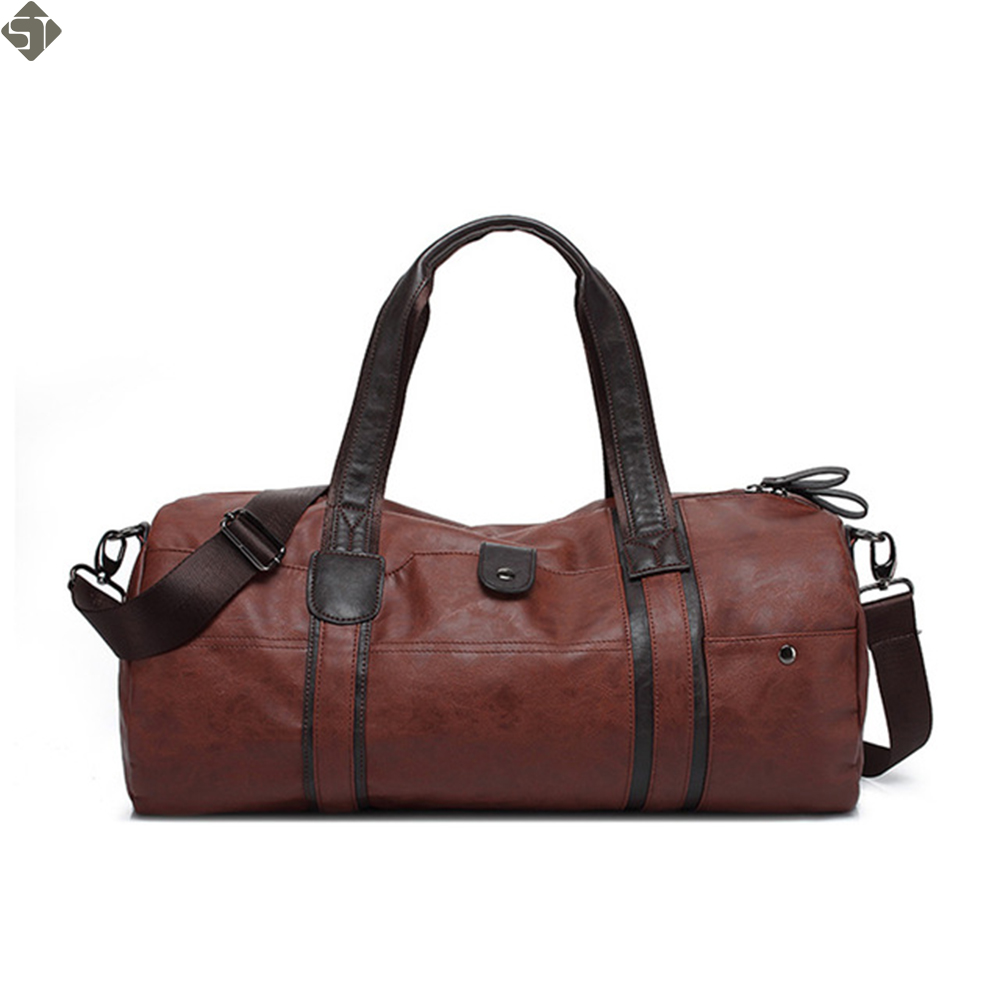 Brand Men Soft Leather Travel Bag Casual Men Leather Shoulder Bag & Travel Tote Waterproof Fashion Bags Bolso Deporte Barrel цена