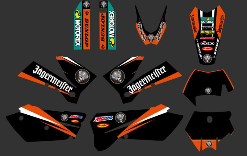 0267 Orange White NEW TEAM GRAPHICS WITH MATCHING BACKGROUNDS FIT FOR SXF MXC SX EXC Series