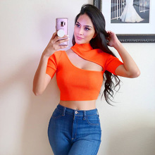 American style women crop top t shirt sexy mujer summer yellow femme plus size casual streetwear 2 colors