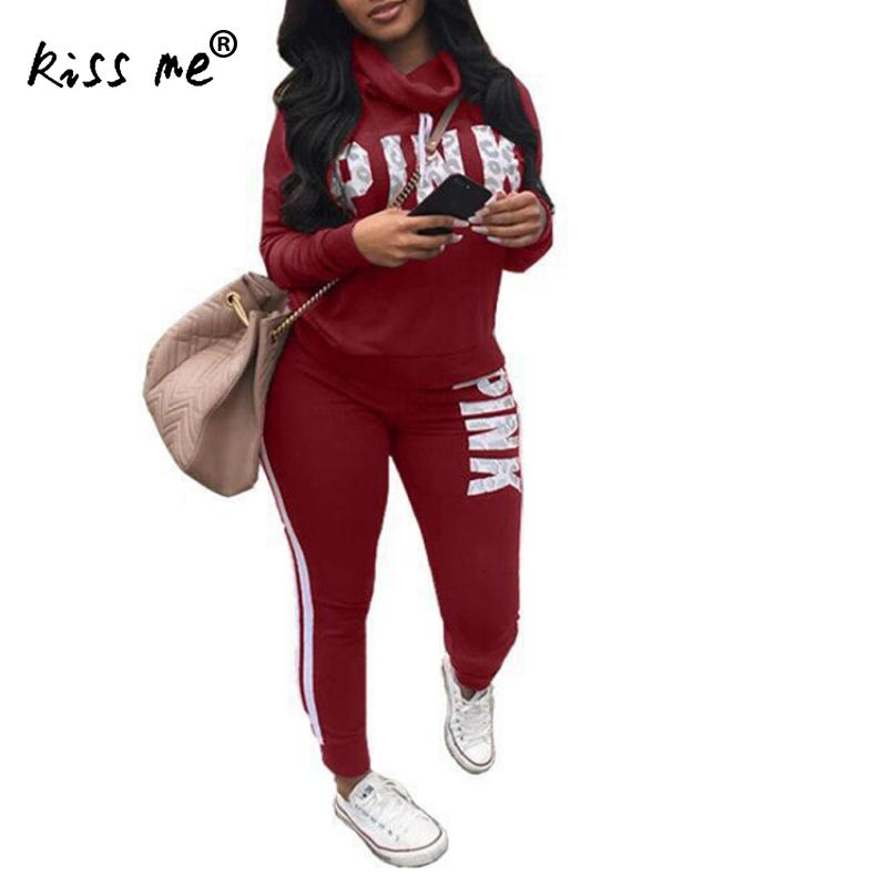 Solid Letter Print Sexy Sport Suit Women Set Plus Size Tops Skinny Pants Gym Wear Workout Suit Two Piece Tracksuit Sportswear