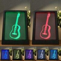 Creative 3D Visual Guitar Model Illusion Frame Lamp LED 7 Color Changing Novelty Bedroom Night Light