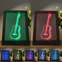 Creative 3D Visual Guitar Model Illusion Frame Lamp LED 7 Color Changing Novelty Bedroom Night Light