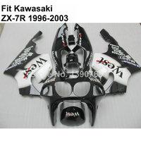 Free customize for Kawasaki fairings ninja black white ZX7R 1996 2002 2003 bodywork fairing set ZX7R 96 03 VT104