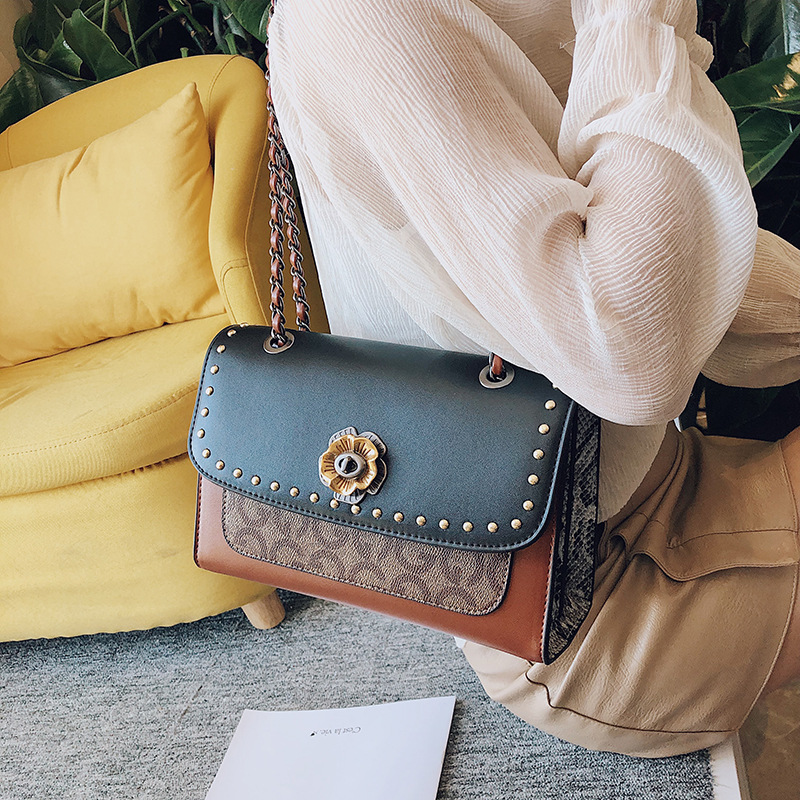 New Style Retro bag for Women 2019 New Fashion Rivet Chain Single Shoulder Bag Trend Patchwork