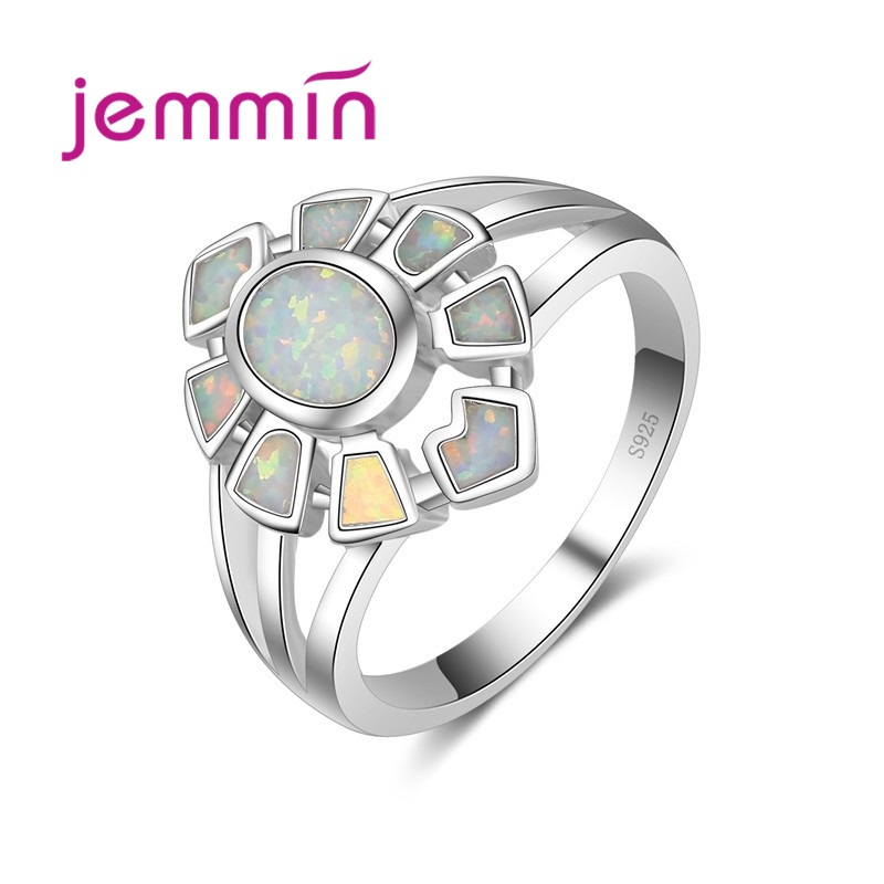 Fine Jewelry Women Rings 925 Sterling Silver White Fire Opal Engagement Wedding Ring Female High Quality Anillos Bijoux