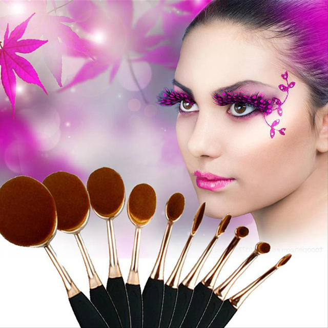 10Pcs/Set Toothbrush Shape Oval Makeup Brush Face Powder Foundation Rose Gold  Toothbrush Makeup Brush Set  Oval Makeup Brush