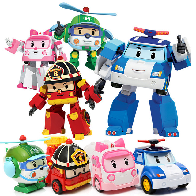 4pcs Robocar Korea Robot Kids Toys Anime Action Figure Super Wings Poli Toys For Children Playmobil Juguetes