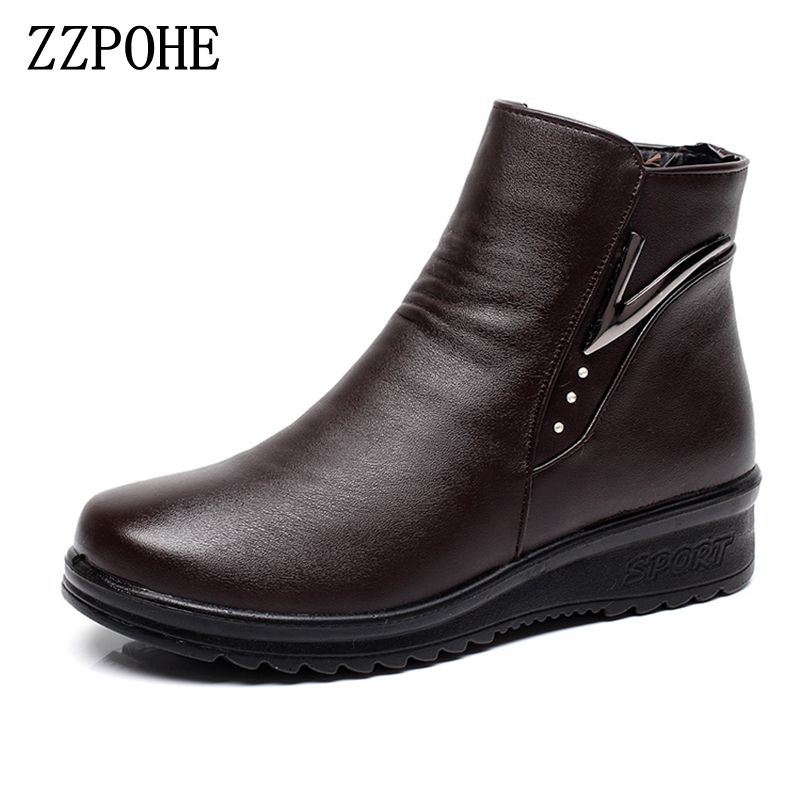 ZZPOHE Women Boots 2017 Winter Shoes Autumn Fashion Woman Genuine Leather Wedges Ankle Boots Casual Keep warm Women Snow Boots enmayer genuine leather women boots autumn winter wedges shoes zip fashion ankle boots mixed colors platform shoes boots 34 39