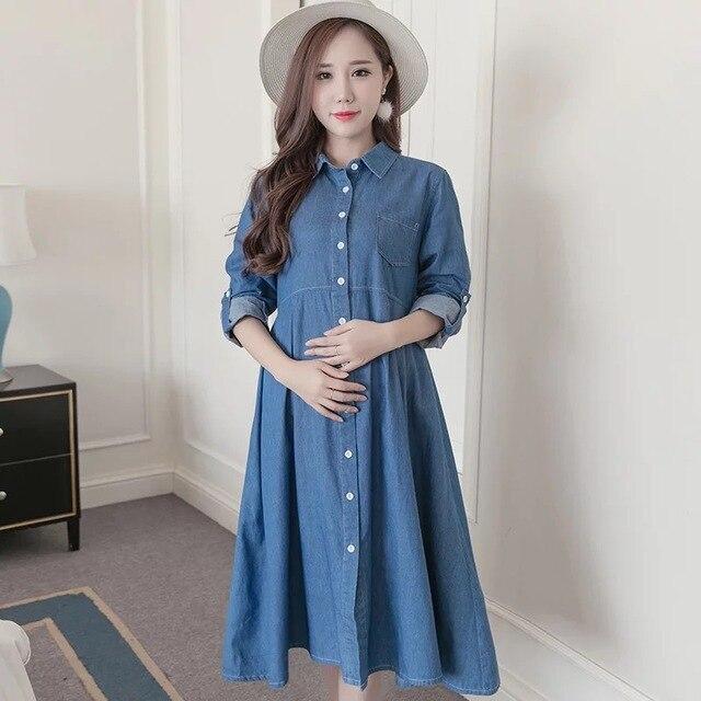 24dab8d48 Plus tamaño suelto vestido de embarazada Denim vestidos de maternidad  embarazo Primavera Verano ropa para mujeres