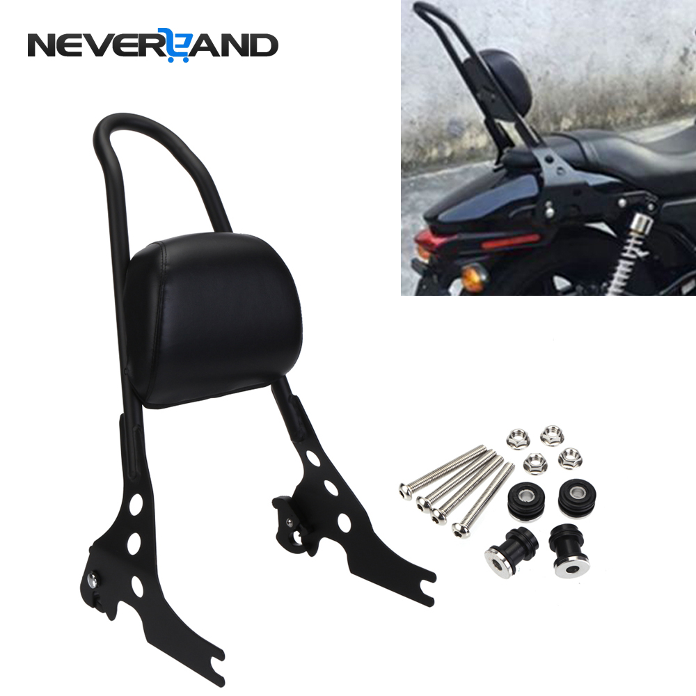 Neverland Motorcycle Passenger Backrest Pad Black Silver Sissy Bar Cushion For Harley Iron Sportster XL1200 883 D35 black motorcycle short passenger backrest bracket sissy bar case for harley sportster iron 883 1200 xl883 xl1200