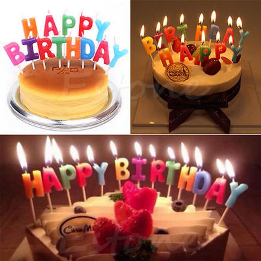 1 Set Nieuwe Aankomst Verjaardagstaart Decoratie Thuis Party Gebruik Ideaal Goud / Zilver GELUKKIG VERJAARDAG Kaars Cake Kaarsen Leuke Gift 5