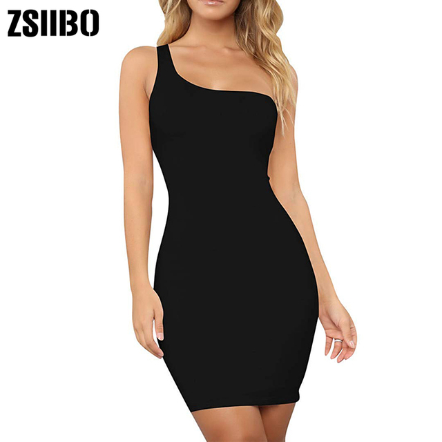 Women's Casual Basic One Shoulder Tank Top Body-con long sleeve sleeveless Mini Club Dress 4