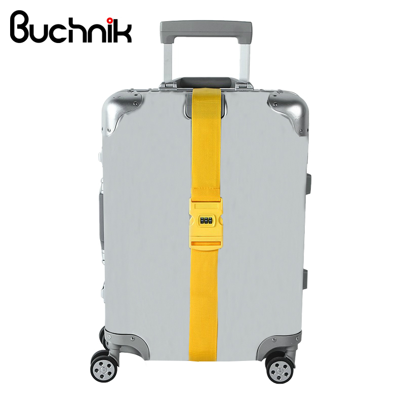 цена на BUCHNIK Adjustable Reusable Luggage Strap Cross Belt Packing Travel Suitcase PP POM Password Lock Buckles Baggage Accessories