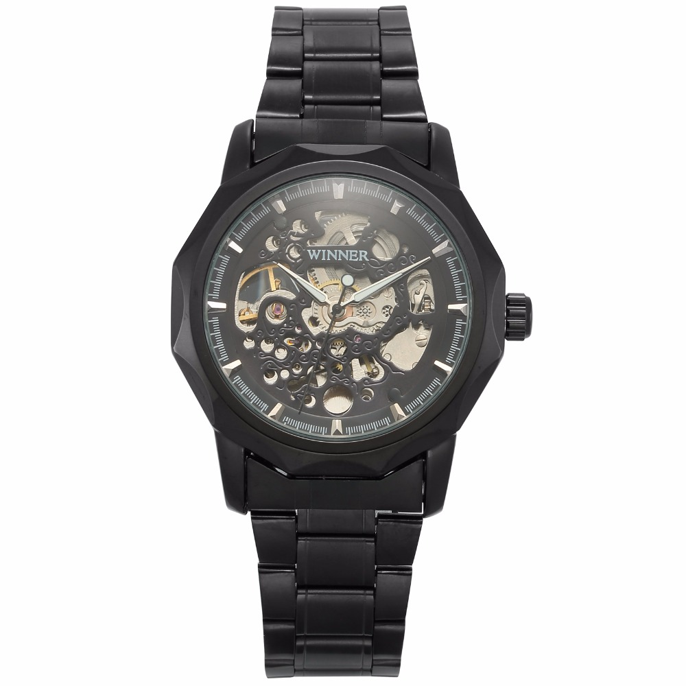 ФОТО 2016 New Black Men's Skeleton Wristwatch Stainless Steel Antique Steampunk Casual Automatic Skeleton Mechanical Watches /PMW452