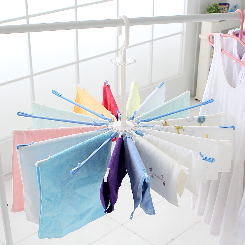 20 Holders Umbrella Shape Drying Hanger, Big Plastic Foldable Rotatable Drying Rack for Baby Clothes Sock Sox Pant Towel Bra Tie