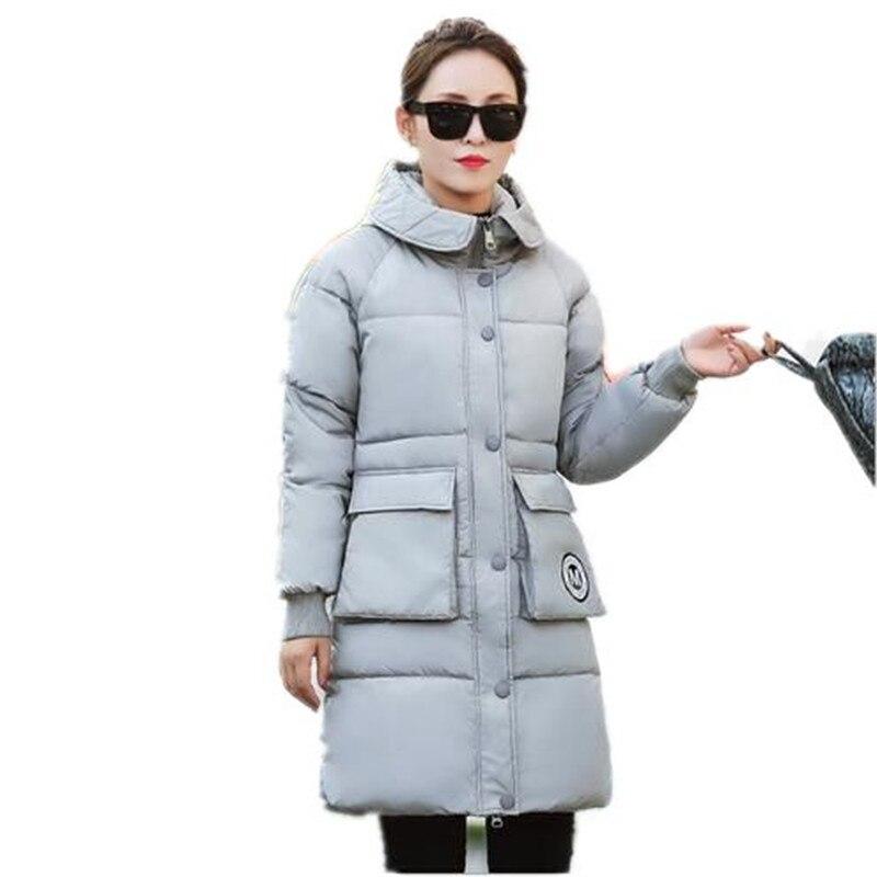 2016 Kış Yeni Eğlence Büyük Metre Yastıklı Ceket Kadın İnce Kapşonlu Aşağı Pamuk Coat Kalınlaşmak Sıcak Uzun Kabanlar Parkas A1739