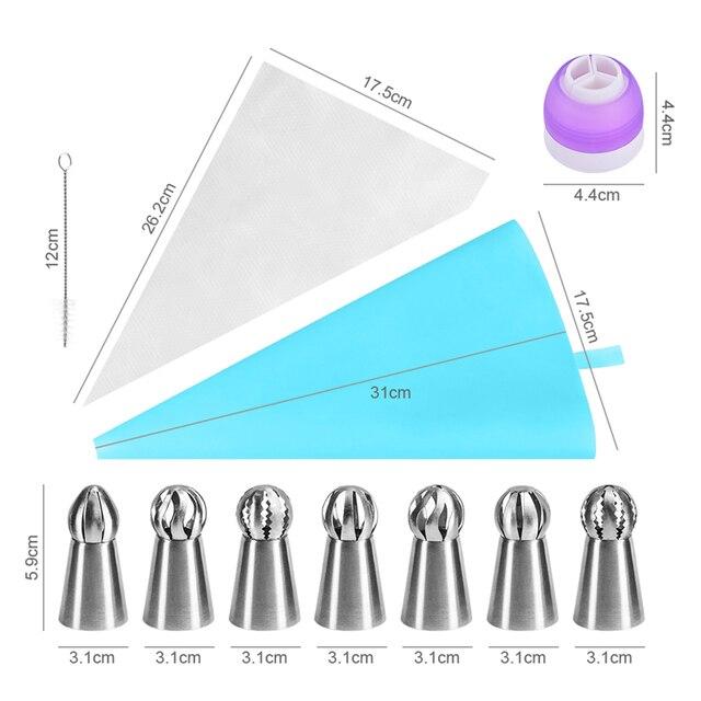 VOGVIGO 11 pz/set Pasticceria Accessori Russo Piping Consigli E Accoppiatore Sfera In Acciaio Inox Glassa Ugelli Pasticceria Del Bigné di Cottura Strumento