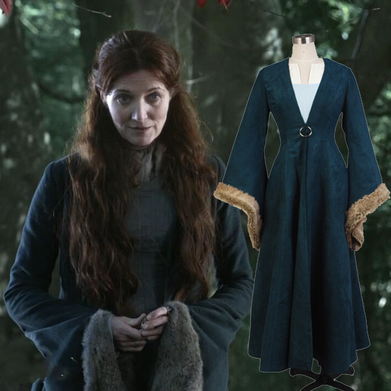 Custom Made Catelyn Stark Cosplay Costume From Game of Thrones For Halloween Carnival Foe Adult Women Men full set