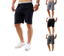 2018 New Men Summer Casual Shorts Lace Up Waist Solid Color Shorts Fashion Outwear Knee Length Fitness Men's Clothing
