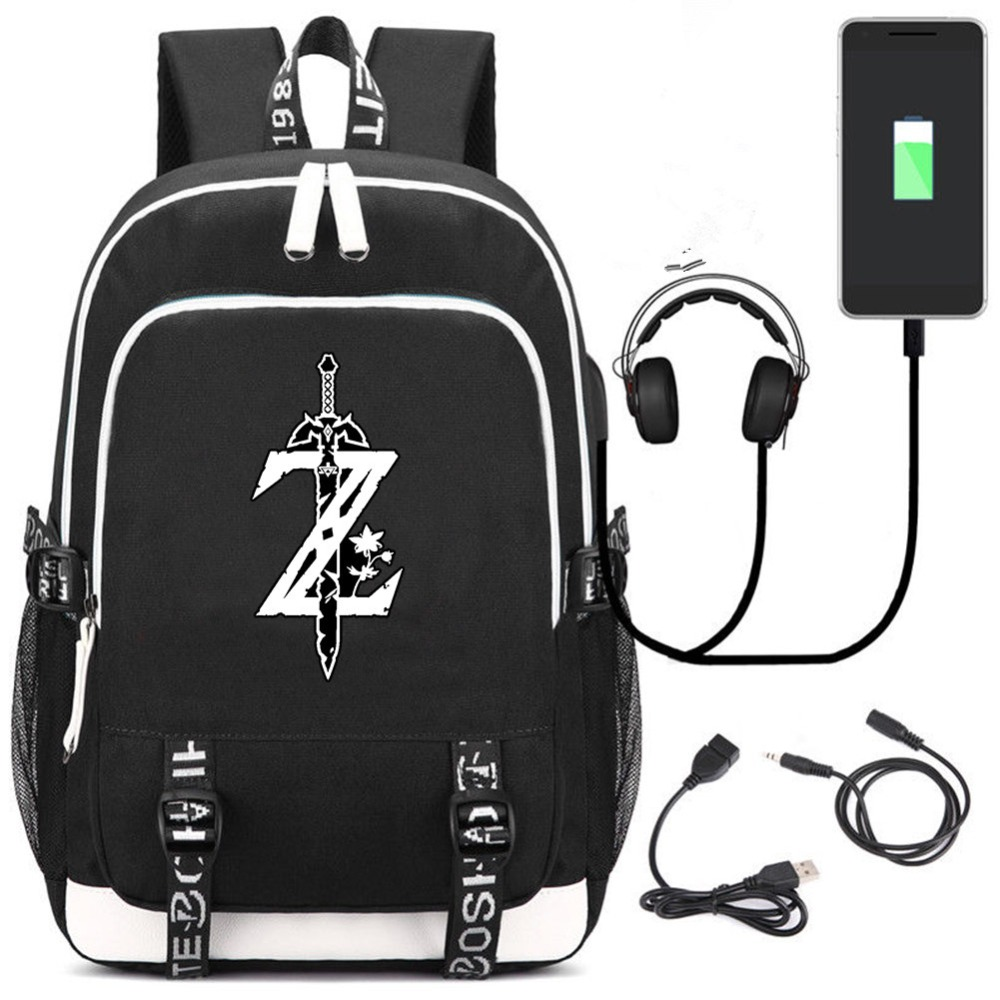 The Legend of Zelda Cartoon laptop backpack USB bagpack for women Men Shoulders Bag for boy School Bags girls Male Travel Mochil anime game zelda link school backpack for boy girls bags cartoon student bookbag unisex color shoulder laptop travel bags