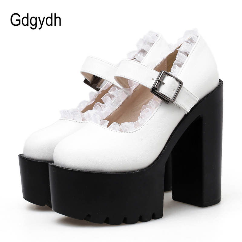 Gdgydh Pumps Women Shoes Spring Autumn 2019 New White Leather Platform High Heel Shoes Mary Janes