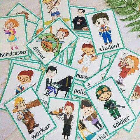 plurais 99 pcs profissao grupos substantivo ingles criancas bolso palavra flashcards montessori aprendizagem brinquedos educativos
