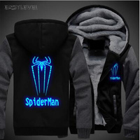 Hot Sales Luminous SpiderMan Printed Hoodie Hip Hop Sweatshirt Jacket Winter Streetwear Fleece Thicken Hooded Coat Dropshipping