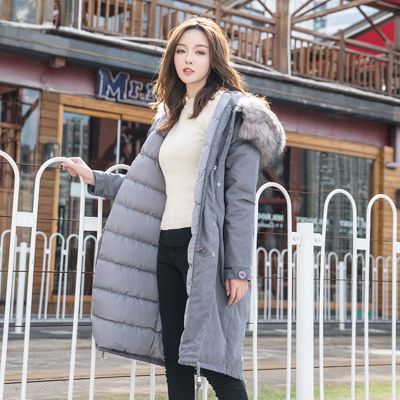 2017 New Winter Women 's Warm Cotton Coats Long High Quality Brand Fur Collar Hooded Ladies Jacket Plus Size Parkas new winter women s down cotton coats fashion solid color hooded fur collar bread jacket plus size thick warm outerwear okxgnz860