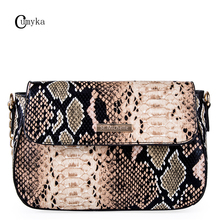 CUMYKA Snake Skin Chain Pattern Women Shoulders Bags Diagonally Ladies Crossbody New Simple Handbag Small Bag PU Pillow