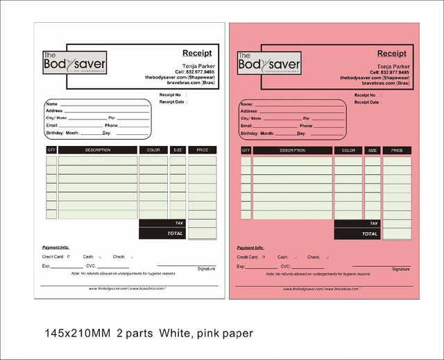 Custom print A5 145X210mm size two copy invoice book , include