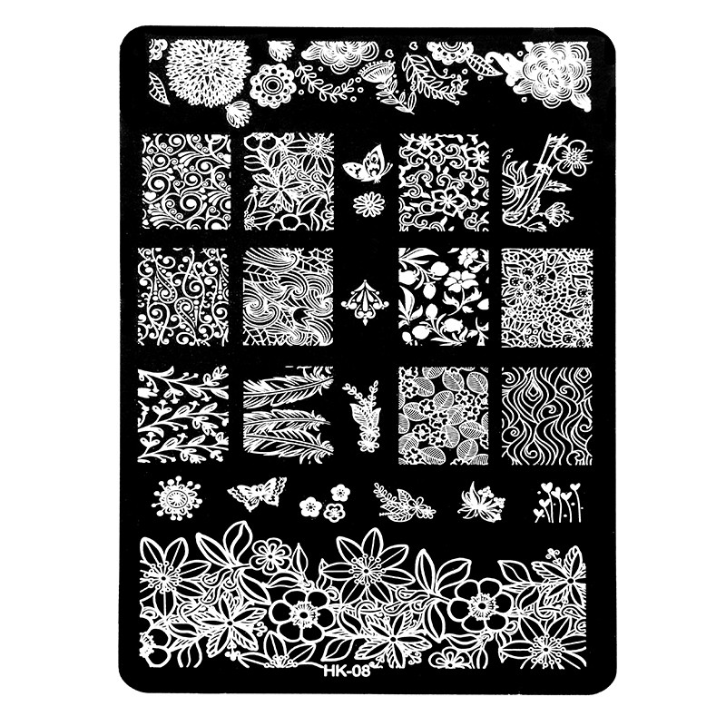 New hk pretty nail art stamping templates stainless steel stencil new hk pretty nail art stamping templates stainless steel stencil halloween skull butterfly design nail plates manicure tools in nail art templates from prinsesfo Image collections