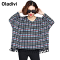 Fashion Women Plaid Printing Top Tees Casual Loose Shirts 2016 Spring Autumn Blouse Vestidos Femininas Plus Size 8XL 7XL 6XL 5XL