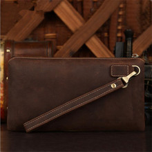 2016 new Men's leather clutch retro business men first layer of leather clutch bag zipper walle hot free shipping