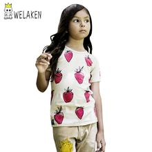 Red Strawberry Pattern T-shirt For Boys or Girls Summer Outwear Top Children Clothing Kid's Outwear