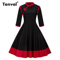 Tonval Rockabilly Red Vintage Dress Elegant Women Retro Chinese Frog Buttons Dress 2017 Autumn Stand Collar